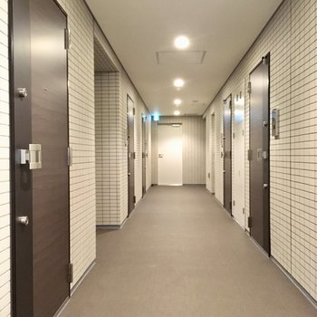 共用廊下。玄関ドアはブラウンで。