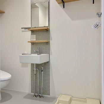 キッチンのタイルとおそろいの洗面台!かわいい〜