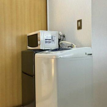 冷蔵庫、洗濯機はここに。