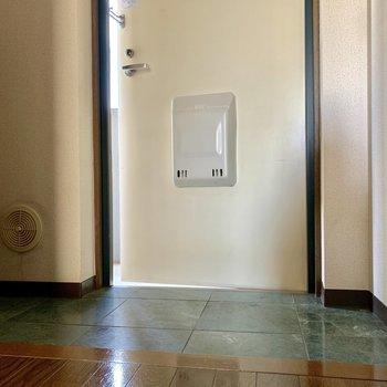 モスグリーンの玄関タイルがシックで素敵。※写真は3階の同間取り別部屋のものです