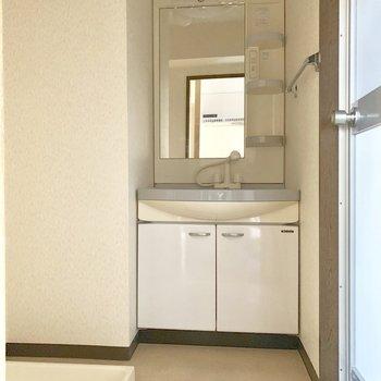 洗濯機、独立洗面台のある脱衣所。※写真は3階の同間取り別部屋、通電前のものです