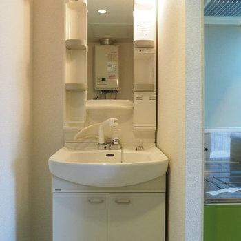 独立洗面台(向かいには洗濯機置場)※写真は同間取り別部屋です