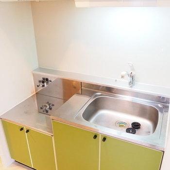 黄緑のキッチンが素敵※写真は同間取り別部屋です