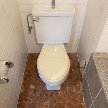 浴槽のお隣にトイレがあります。