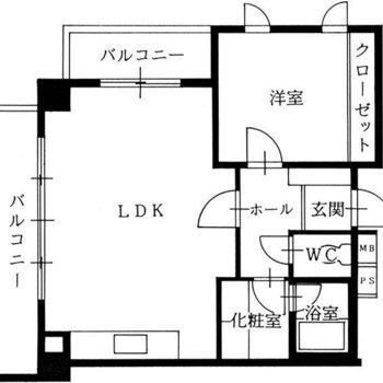 間取り図から分かるバルコニーの広さとキッチンの大きさ。
