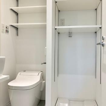 脱衣所に水周りが集合。トイレと洗濯パン上部の収納棚が秀逸