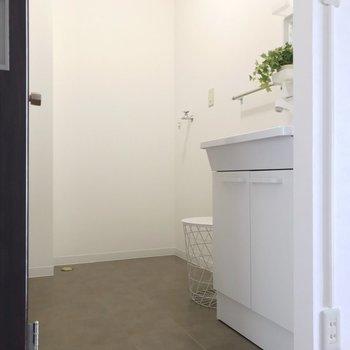 脱衣所の突き当りに洗濯機置場です(※写真の家具は見本です)