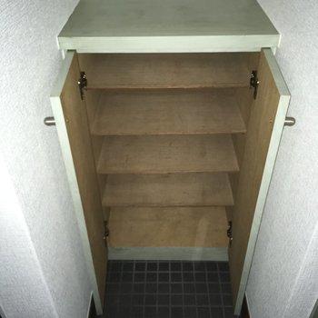 シューズボックスはこれだけ。靴は少なめにね。※写真は3階の同間取り別部屋、通電前のものです
