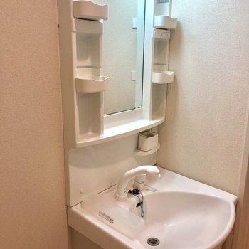 洗面台には収納スペースが多く付いています。※写真は2階の同間取り別部屋のものです