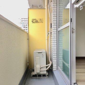 洗濯機置き場はバルコニー。洗って干すの作業が短縮されますね。