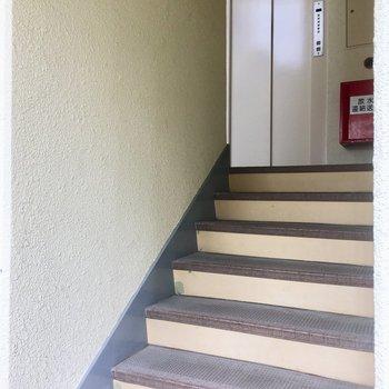 エレベーターは・・・階段登って