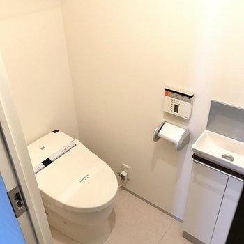 タンクレストイレ。手洗い場もついてます。