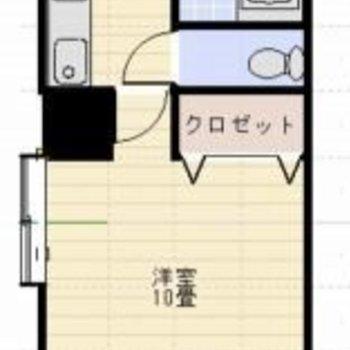 1人暮らし定番の間取り!洋室広めです。