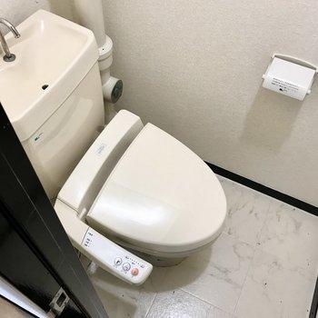 トイレはレトロながらもウォシュレット付き!もちろん棚付きですよ。