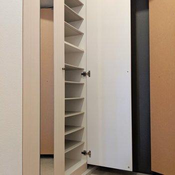 大容量のシューズBOX!1段に4足。扉にミラーもついてて嬉しい。(※写真は4階の同間取り別部屋のものです)