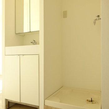 その左に洗面台と洗濯機スペース