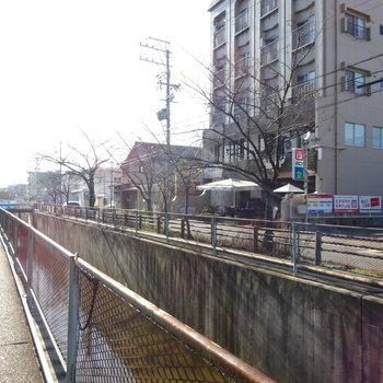 駅からは川沿いを歩いて