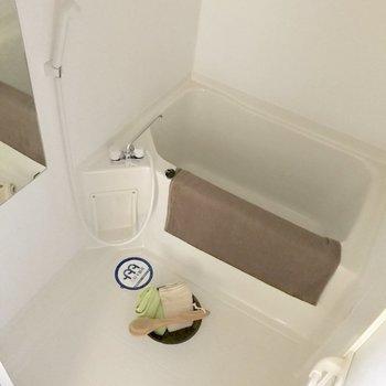 シンプルなバスルーム。鏡付きは嬉しい。(※写真の家具と小物は見本です)