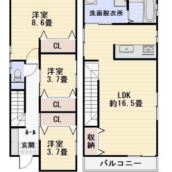 2階建ての戸建てです。