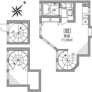 3階構造のメゾネットプラン。