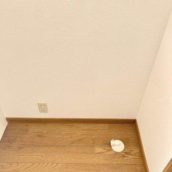 玄関入ってすぐ右に洗濯機置けます。(※写真のお部屋は清掃前、修復工事中のものです)