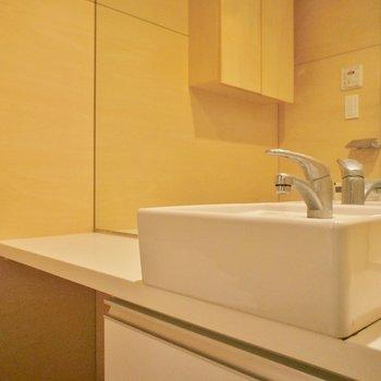 洗面台はトイレの横に ※写真は4階の同間取り別部屋のものです。