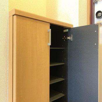 1段に3足くらいは、入りそうです、ボックス上にスペースあるので、何か飾ってもいいかも
