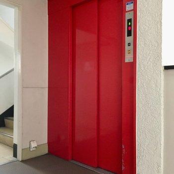 エレベーターは情熱の赤。若干レトロ。