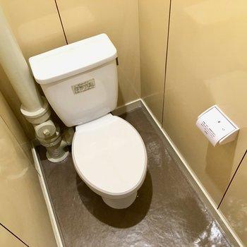 洗面台の隣がトイレ。1段低くなっています。