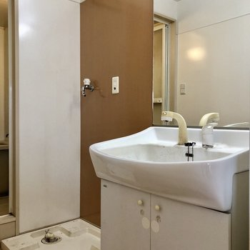 脱衣所には洗面台と洗濯機置場がぎゅっと。(※写真は2階の反転間取り別部屋のものです)