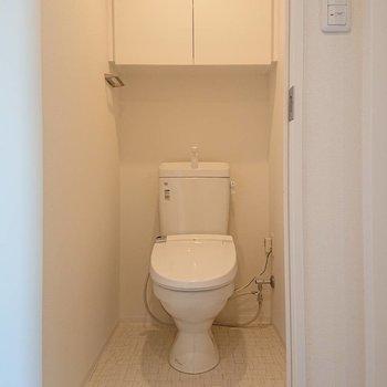 そしてトイレ上にも抜かりなく収納付き