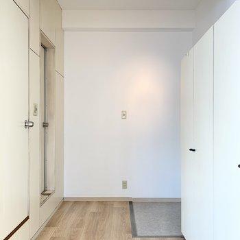 手前ドアがトイレ。奥がサニタリールーム。