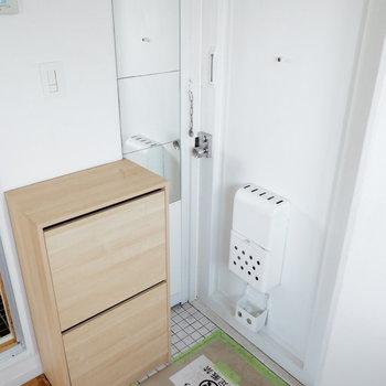 コンパクトなシューズボックスと玄関※写真は別部屋の似た間取りのもの