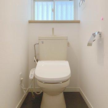 階段下にはトイレが。ウォシュレット付き!