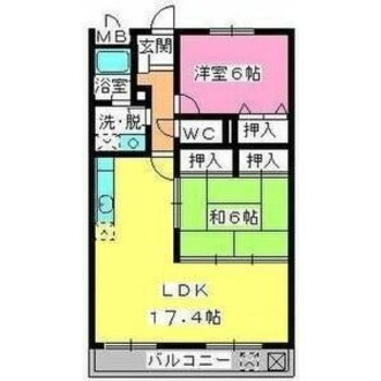 2LDKのお部屋はゆったりサイズ。