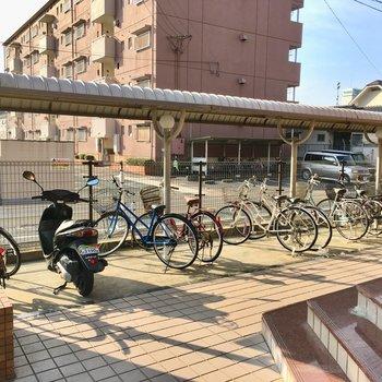 駐輪場には屋根付き!