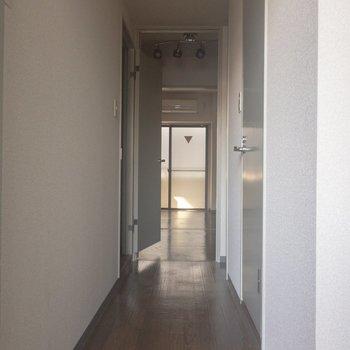 玄関からみたお部屋の様子。※写真は通電前のものです。