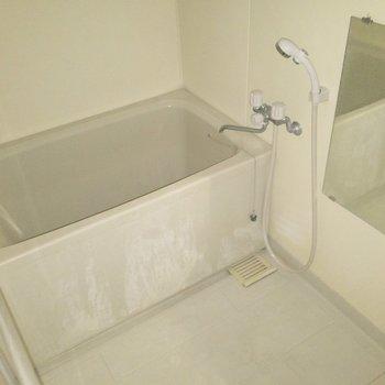浴槽もしっかりしたサイズ感。※写真は通電前のものです・フラッシュを使用して撮影しています