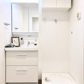 清潔感のある明るいサニタリールーム。