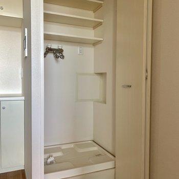 洗濯機置場は目隠しできます。※写真は通電前のものです