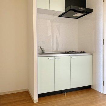 キッチン収納もなかなかあります。※写真は通電前のものです