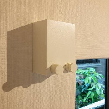 窓の横には室内干し用のワイヤーがあります。