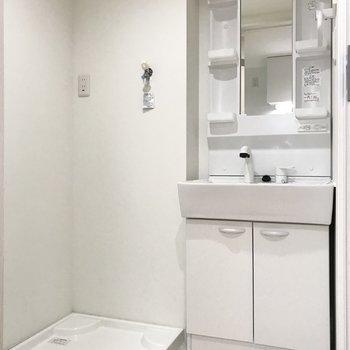 サニタリーは1人暮らしにちょうどいいサイズ感。洗濯機の横にちょっとしたラックがおけるかも。