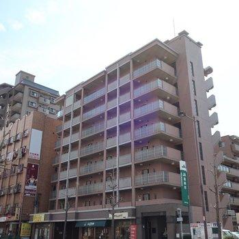 大通り沿いのどっしりなマンション