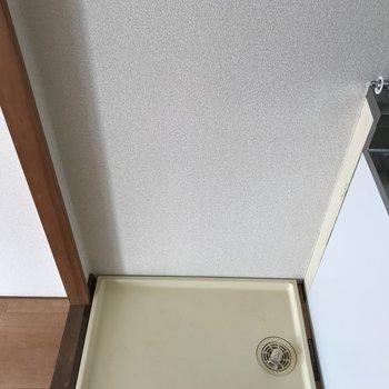 キッチン横に洗濯パンがあります。※写真は2階の同間取り別部屋のものです