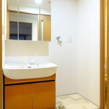 三面鏡の大きな洗面台!ここから風呂、トイレへアクセス可能!(※写真は前回掲載時のものです。)