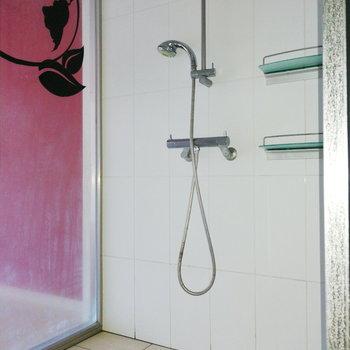 シンプルなシャワールーム。※写真は通電・クリーニング前のものです