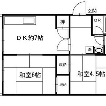 広々2DK。和室が2部屋ある!