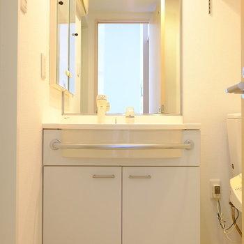 鏡がとっても大きい洗面台(※写真は2階の反転間取り別部屋のものです)