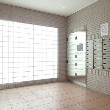 ガラスブロックの壁でエントランスも光が差し込みます。